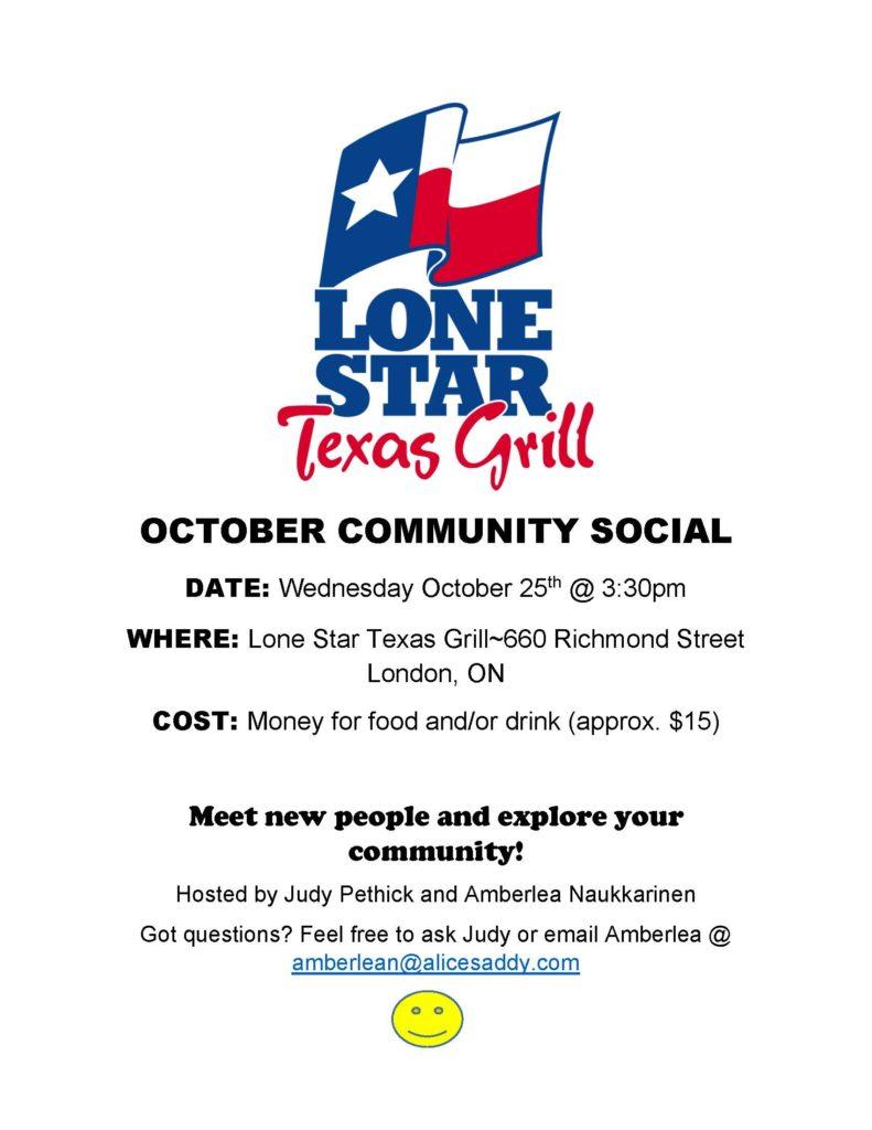 October Community Social @ Lone Star Texas Grill | London | Ontario | Canada