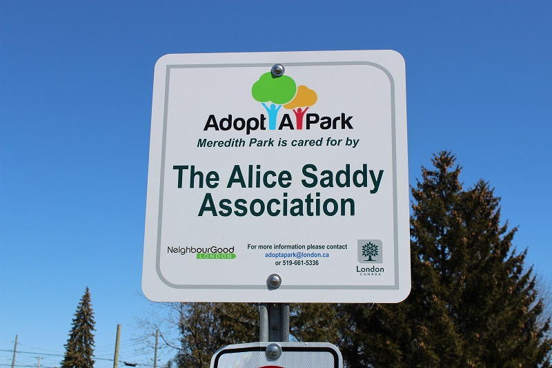 Adopt A Park Sign with Alice Saddy Association's name on it
