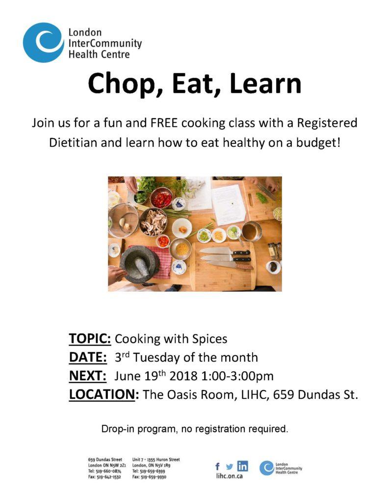 Chop, Eat, Learn Cooking Class @ London InterCommunity Health Centre | London | Ontario | Canada