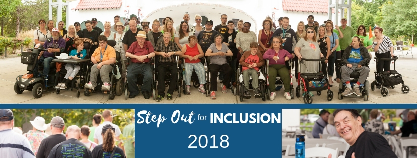 A group of 3 pictures from the Step out for Inclusion event - a group photo of everyone who participated, a photo of people's backs as they walked, another photo of a man looking happy