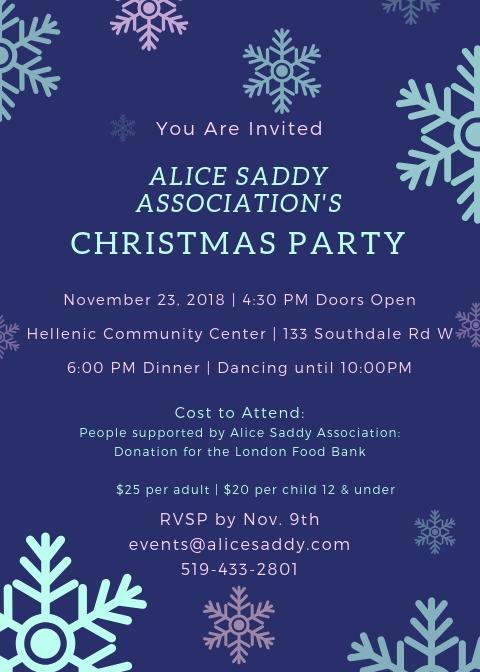 Alice Saddy Christmas Party @ Hellenic Centre | London | Ontario | Canada
